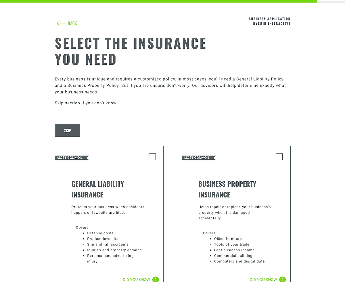 The Insurance Loft Business Application Showing Categories